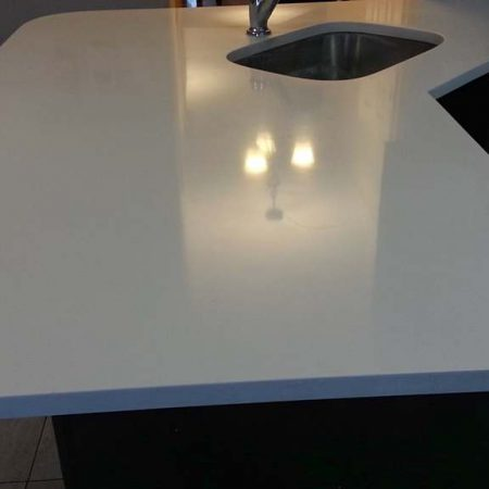 Glossy Corian Countertop after Refinishing