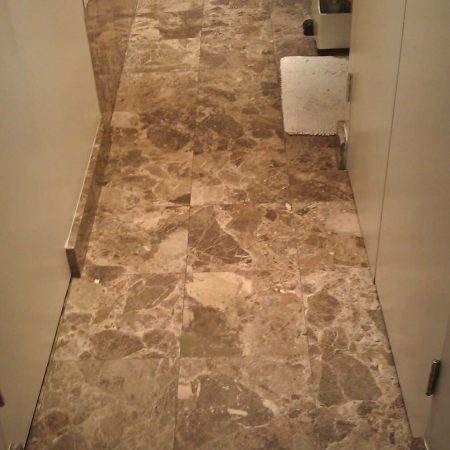 Shabby Dark Emperador on Bathroom Tiles