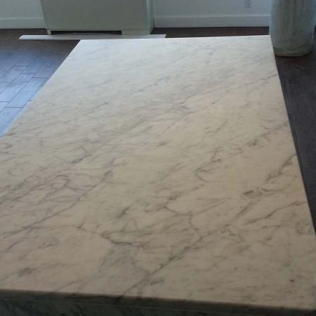 Eggshell or Matte Finish on White Carrara Island Top