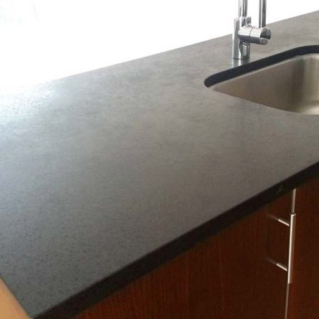 Splotchy Gray Granite with Black Opaque Flakes