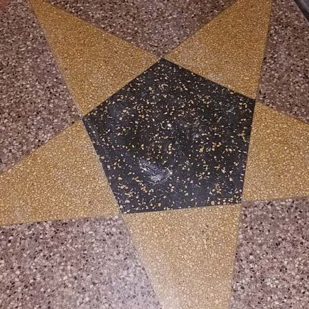 After Holes Patching in Terrazzo Inlaid Star