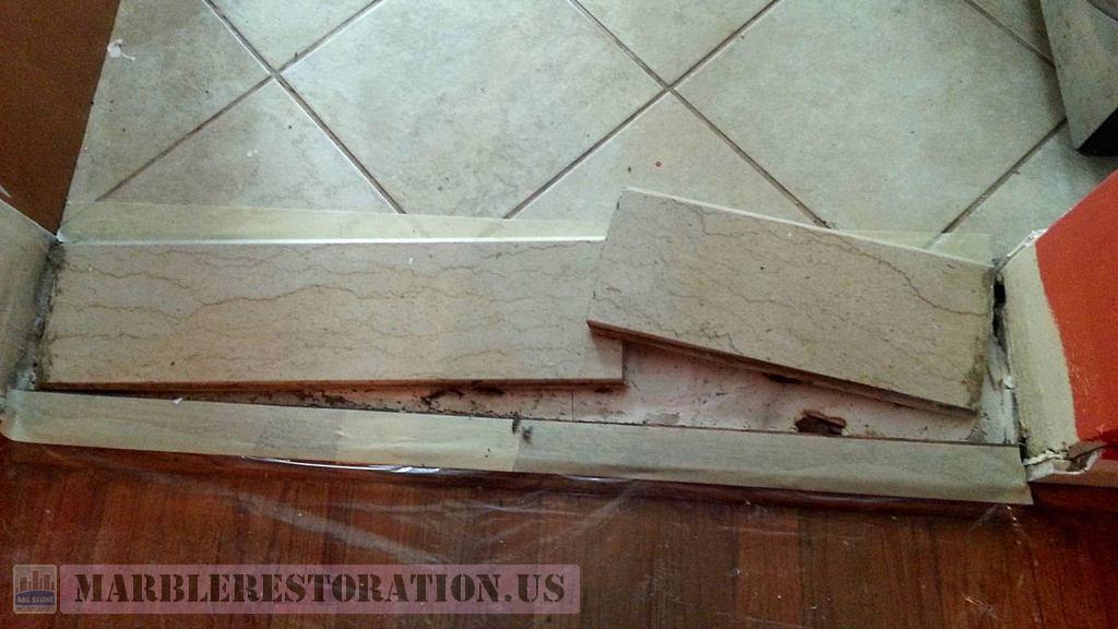 Kitchen Broken In Half Door Threshold Re Bonding
