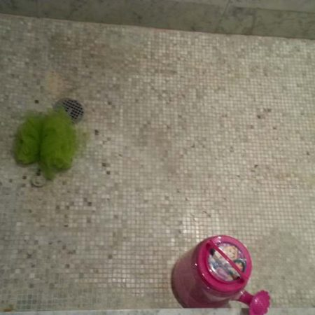 Stained Grout & Mosaic on Shower Floor