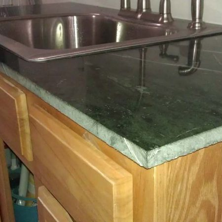 Raw Edge Makeover On Serpentine Green Marble