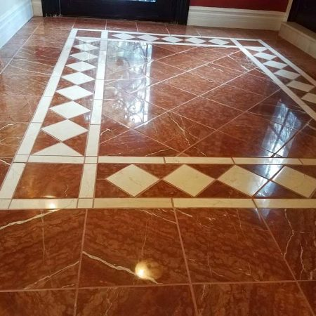 Reddish Rosso Foyer Floor after Revitalization