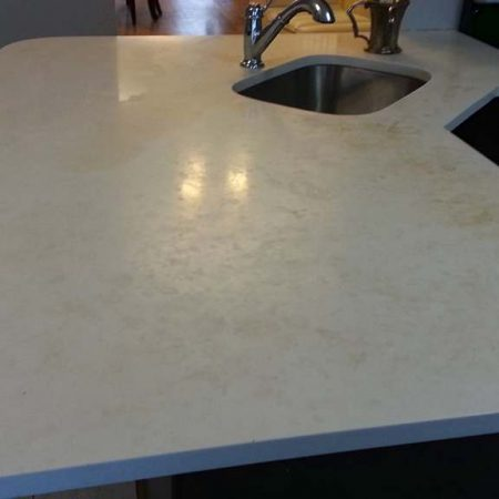 Recession on Stained Corian  Counter Restoration
