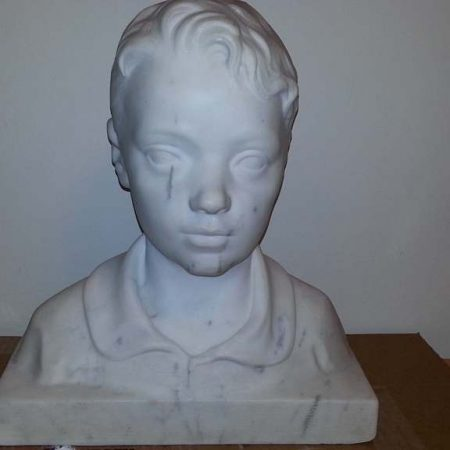 Statuary White Marble Bust After Sculpture Restoration