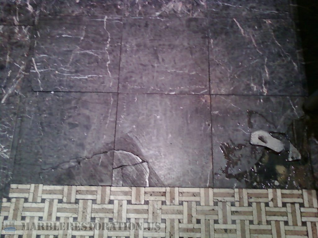 Tiles Before Replacement. Mystic Dark Marble