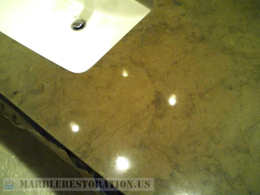 Brown Limestone Vanity Etches Removed