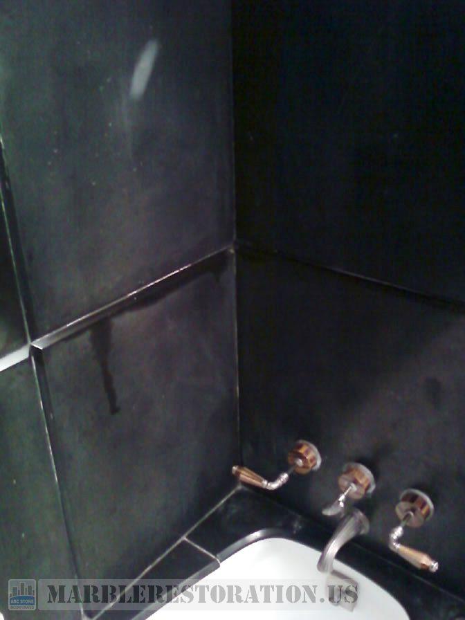 Black Slite Bathroom Before. Stone Repair Picture