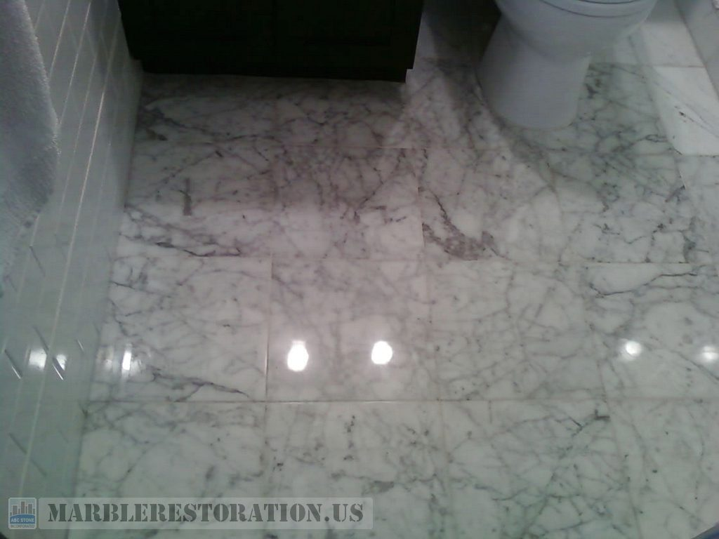 White Carrara Polished Bathroom Floor