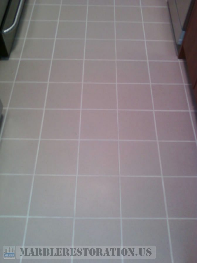 Ceramic Floor on Kitchen with a New Grout