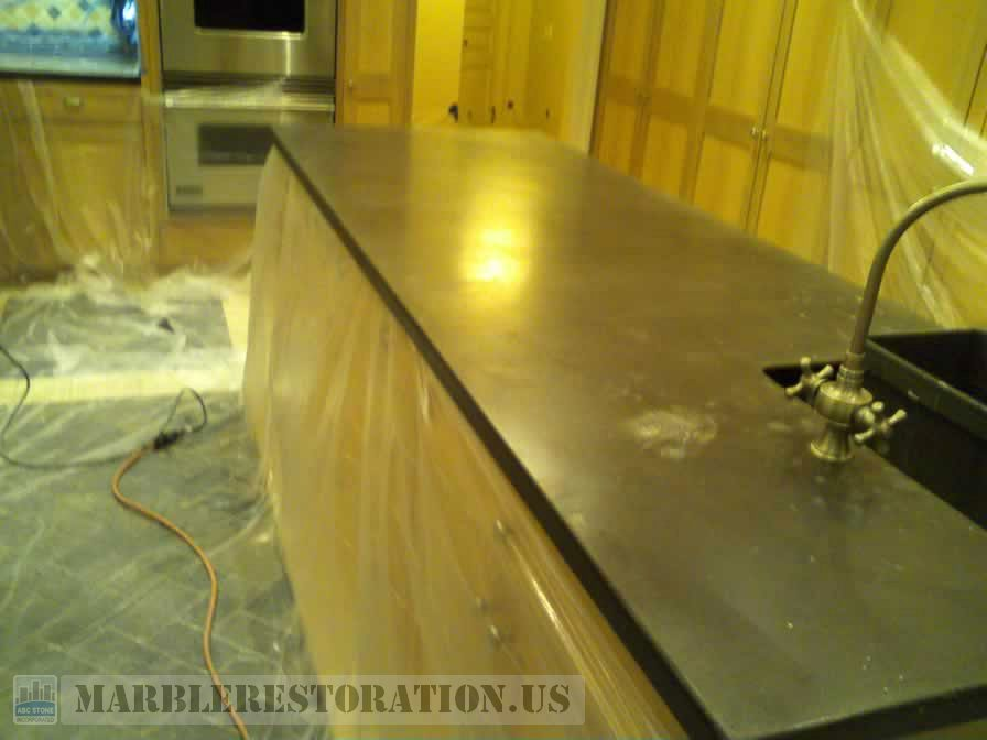 Concrete Countertop Island before Polishing