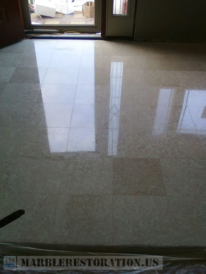 Botticino Foyer Floor after Cleaning and Polishing