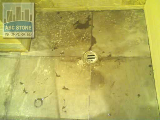 Discoloration By Bleach Cleaner Limestone Shower Floor