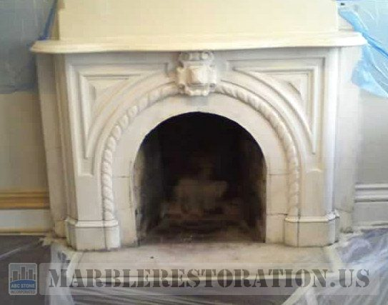 Ornamental White Marble Fireplace Before Restoration