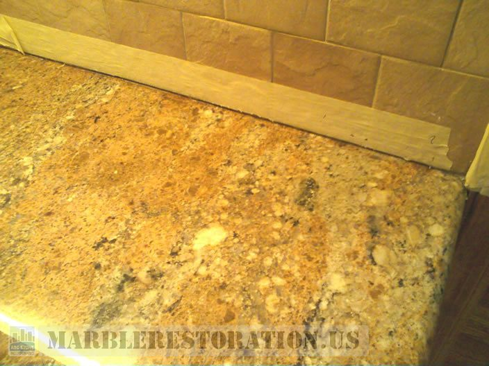 Seam Repair. Golden Granite Counter Top