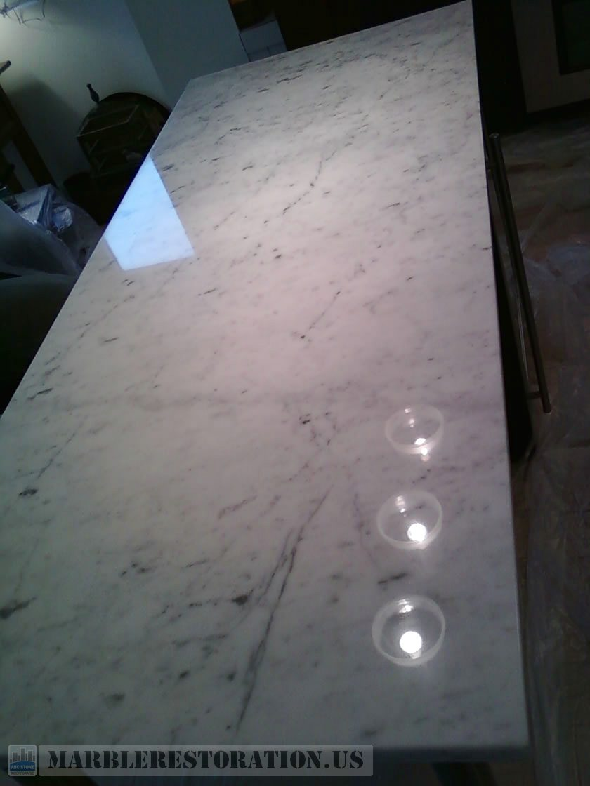 Carrara Kitchen Countertop after Buffing