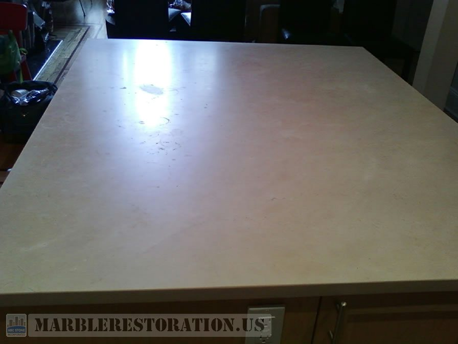 Splotchy Kitchen Island Before Refinishing