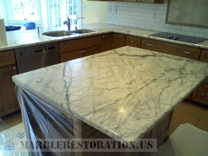 Dull Recession marble benchtop restoration