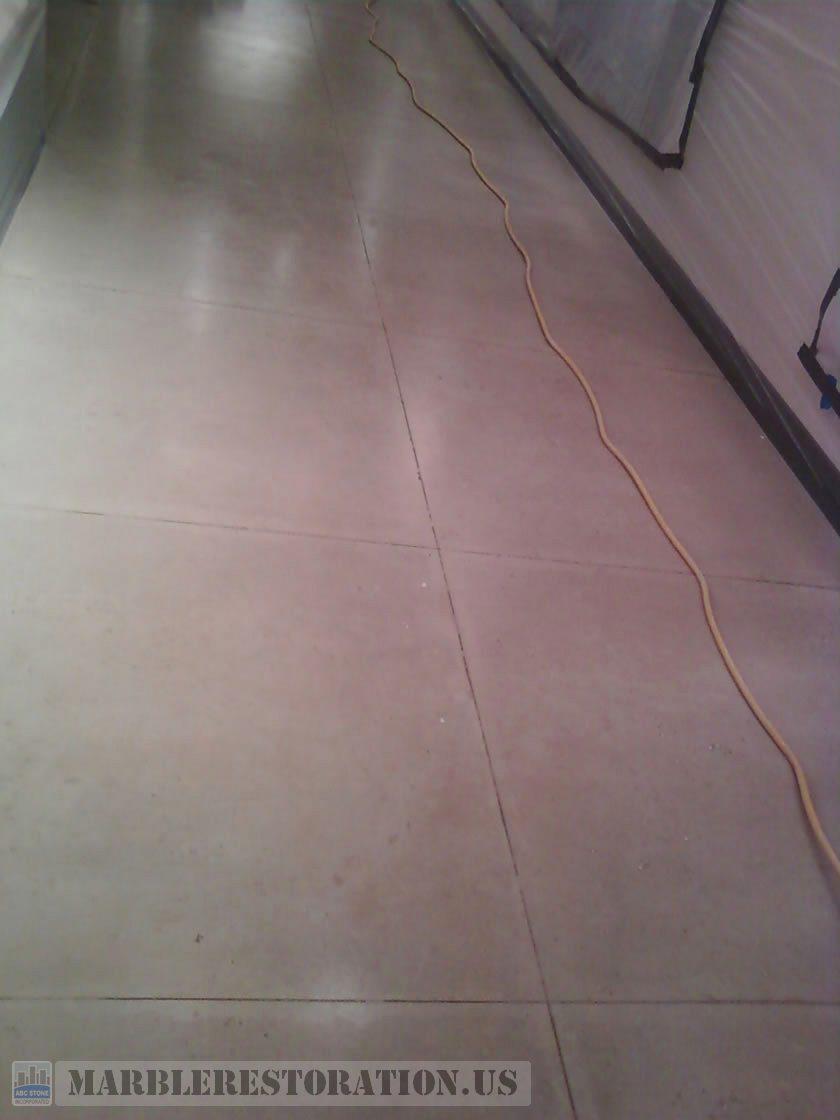 Soiled Limestone Floor Slabs. Before Cleaning