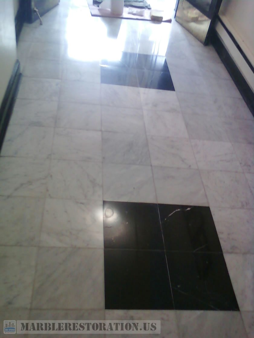 Lobby Floor Restoration. After Polishing