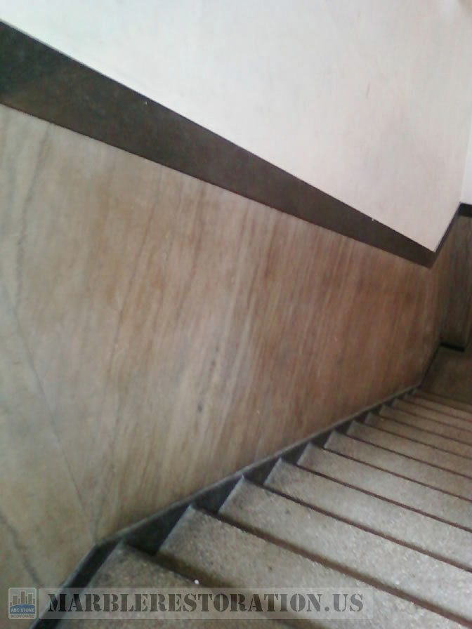 Disrepair Lobby Stairway Tennessee Marble Walls Cleaning and Polishing