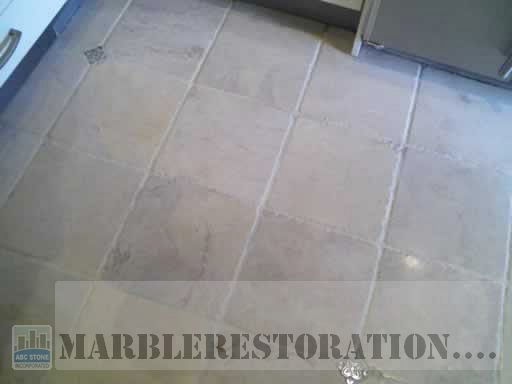 Cleaned Travertine and Grout on Floor