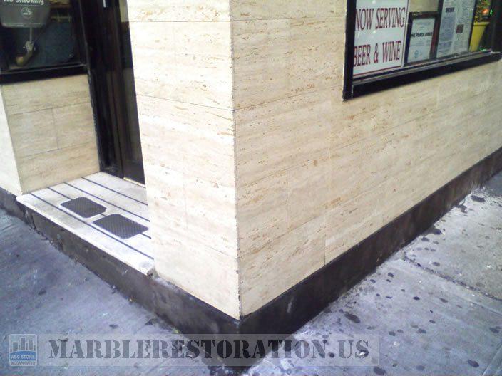 Cleaned & Polished Travertine Corner Tiles