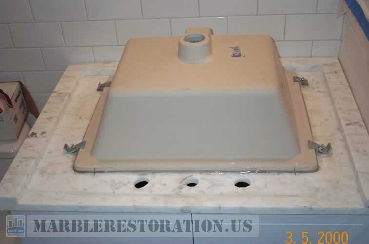 White Carrara Vanity Sink Mounting