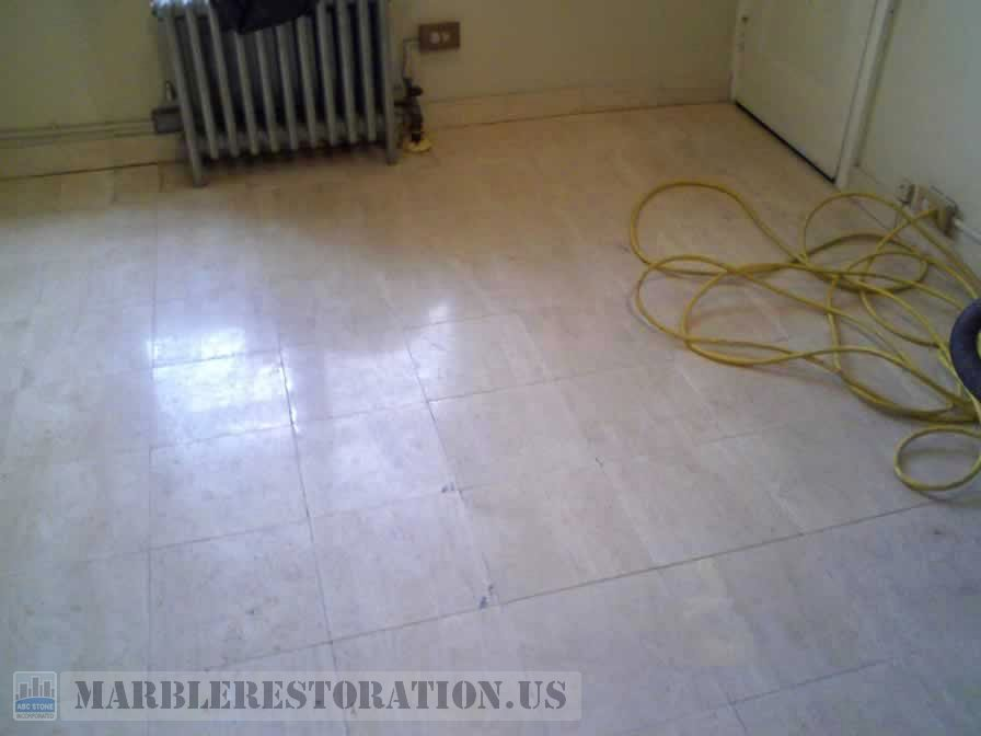 Old Travertine Floor. Before Restoration