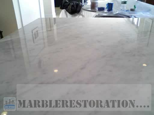 Wax Finish Stripped Buffed To Shine Marble Countertop