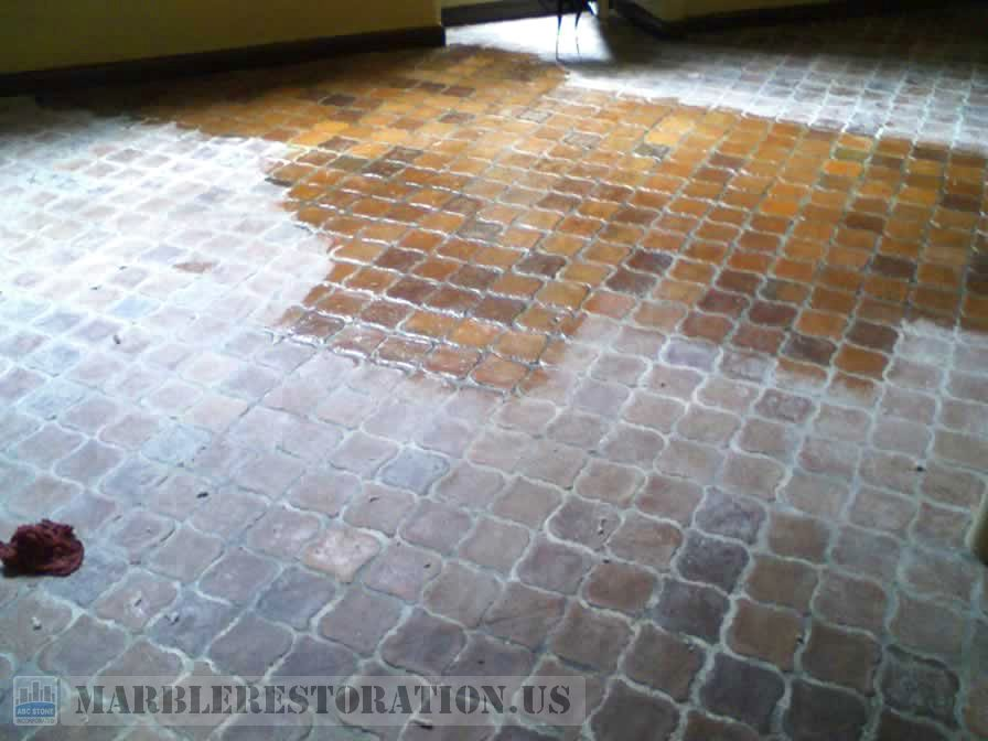 Color Enhancement on Old Terracotta Floor Tiles