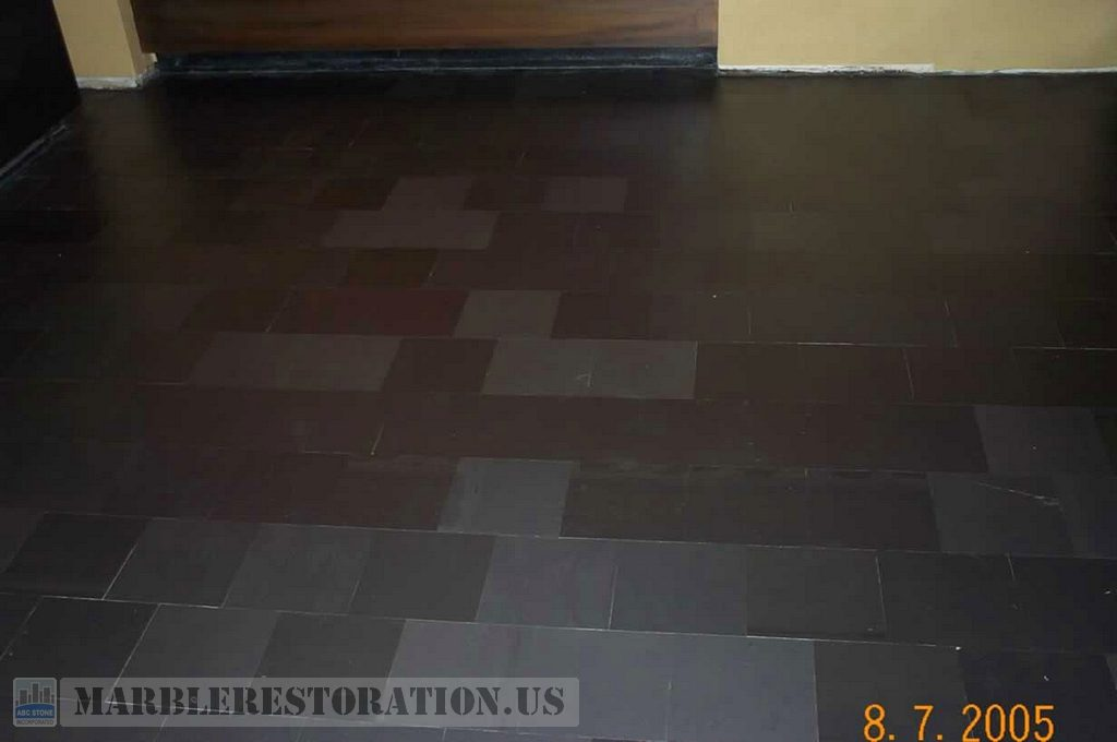 Slate stone tiled floor after grinding and honing slate stone tiled floor dailygadgetfo Gallery