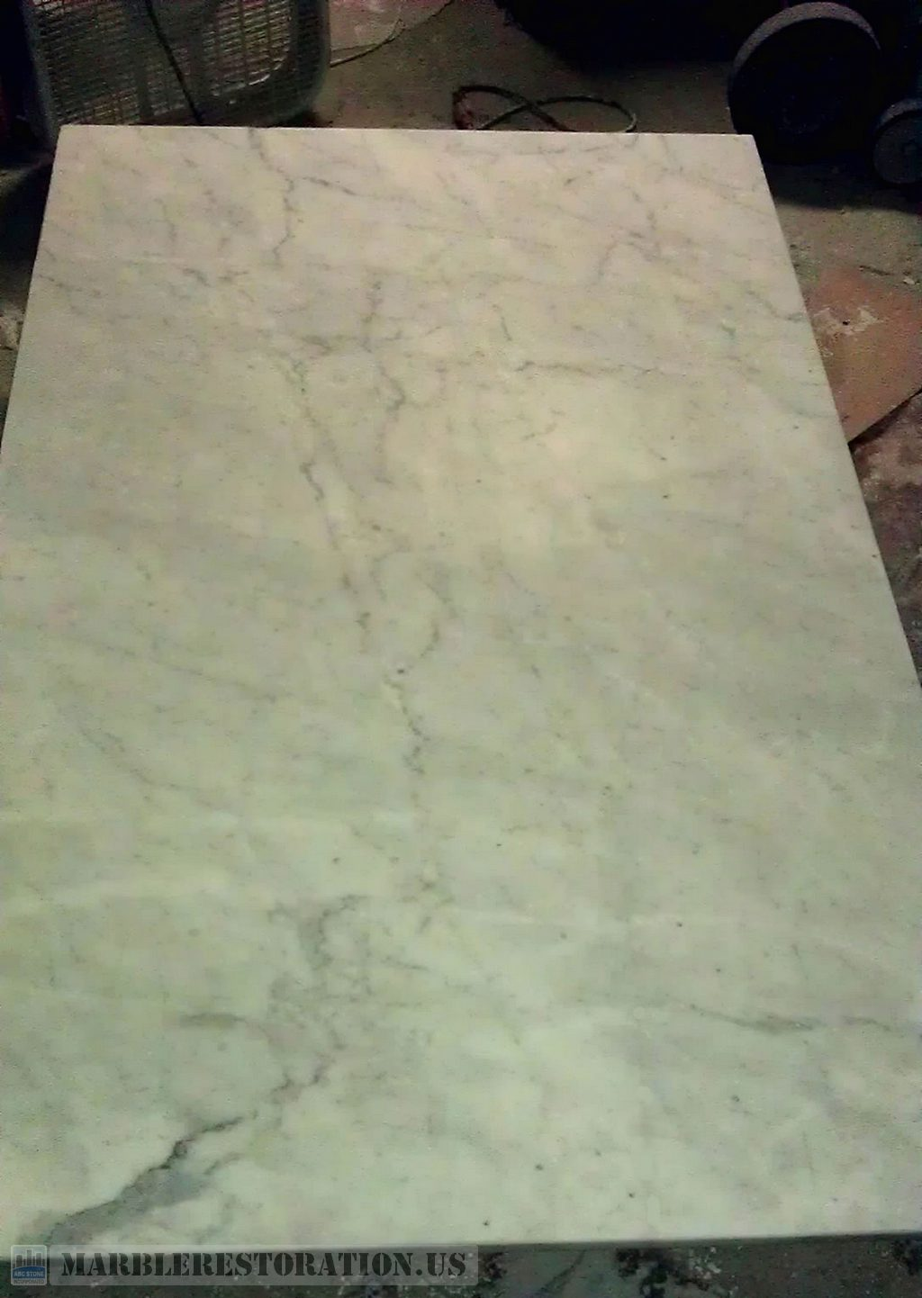 Brand-new Fixed Rectangular Table Top. White Carrara Marble DV35