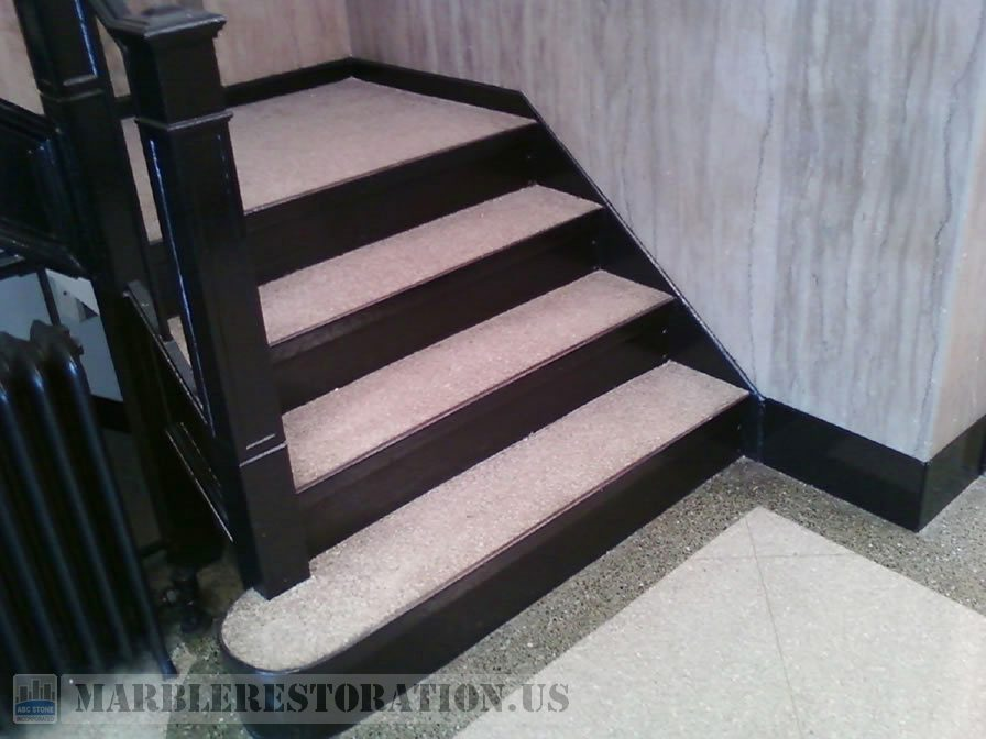 Cleaned and Polished Terrazzo Steps