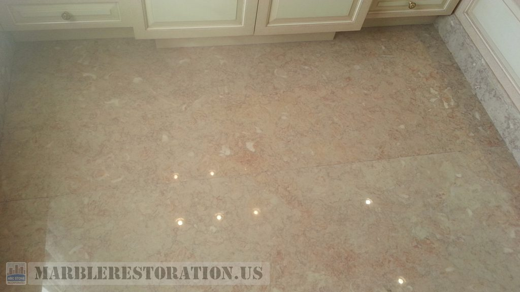 Bathroom Floor Luster on Slab Restoration