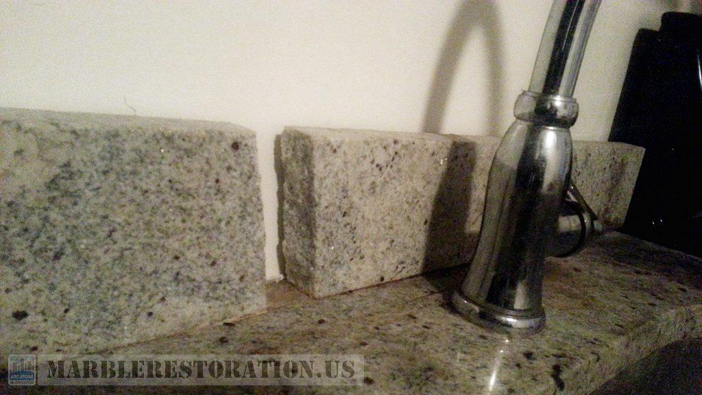 Beige Granite Backsplash before Repair