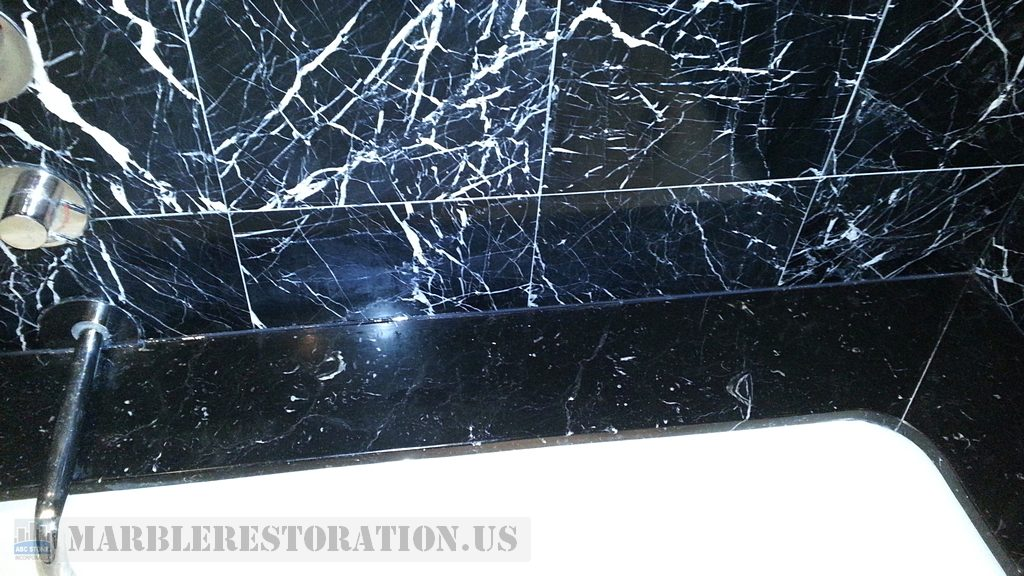 Nero Marquina Marble With White Veins Cloudy Spots Removal