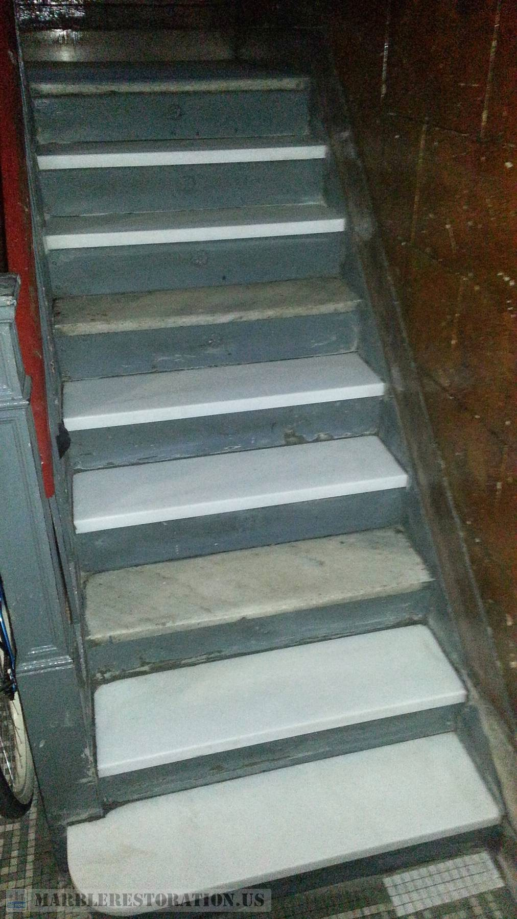 Brooklyn Building Crystal White Danby Marble Steps Intallation
