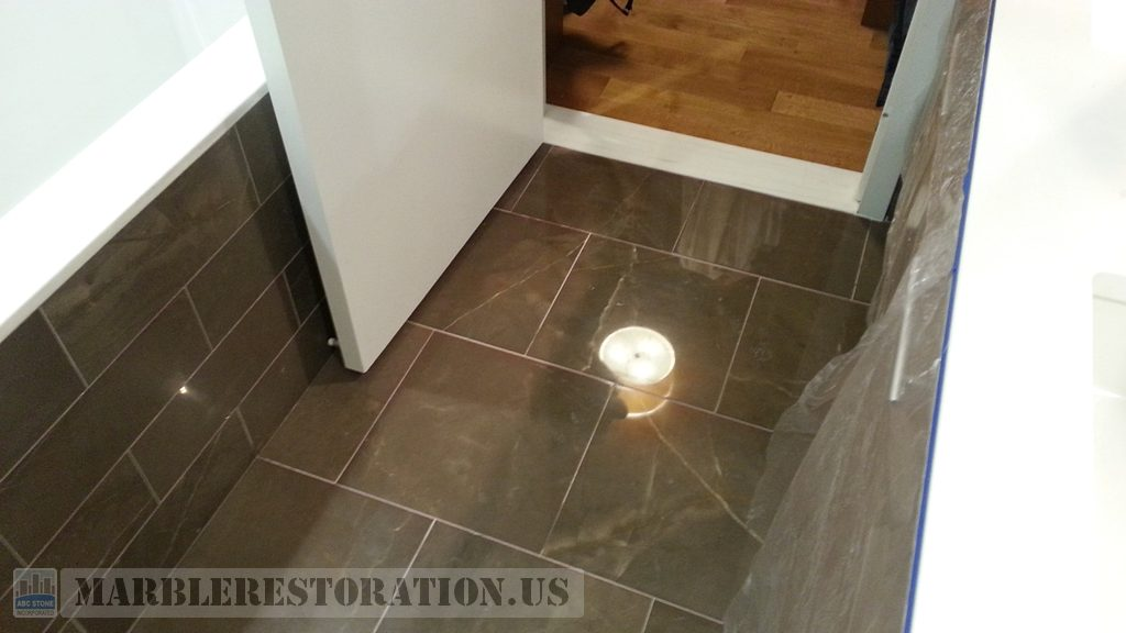 Pietra Brown Bathroom Floor Buffed Up Finish