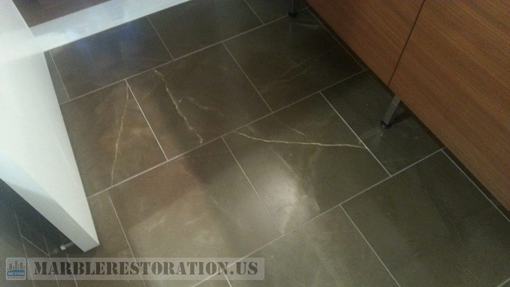 Pietra Brown Bathroom Floor Worn Dull Surface