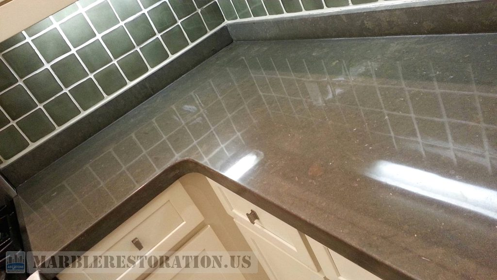 Brown Limestone Gloss Finish On Surface