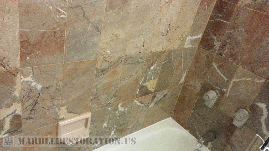Brownish Yellow Beige Marble Walls Above Bathtub Restoration