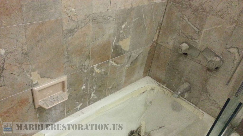 Brownish Yellow Beige Marble Walls Above Tub Erosion
