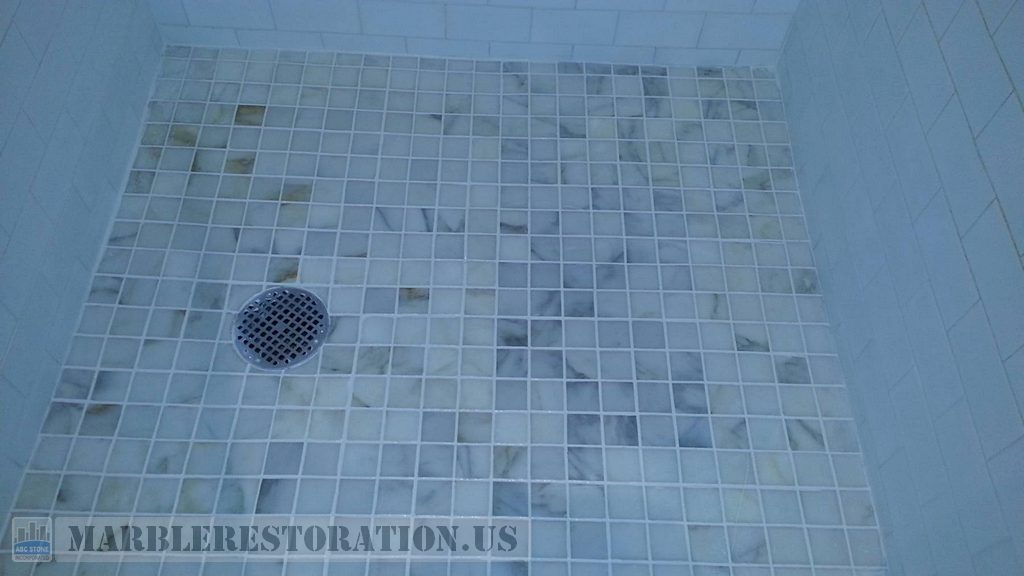 Calcium Builup, Mold and Efflorescence Removal White Mosaic Shower