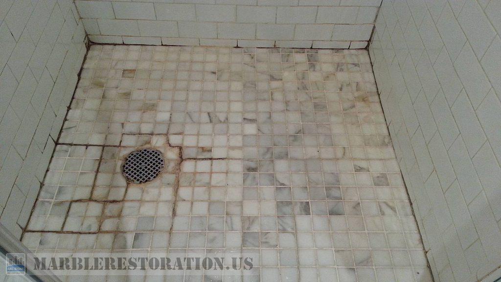Salt Build Ups Black Mold Efflorescence On Shower Floor