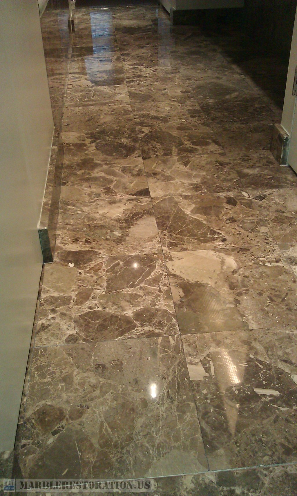 Dark Emperador Marble Bathroom Tiles after Polishing