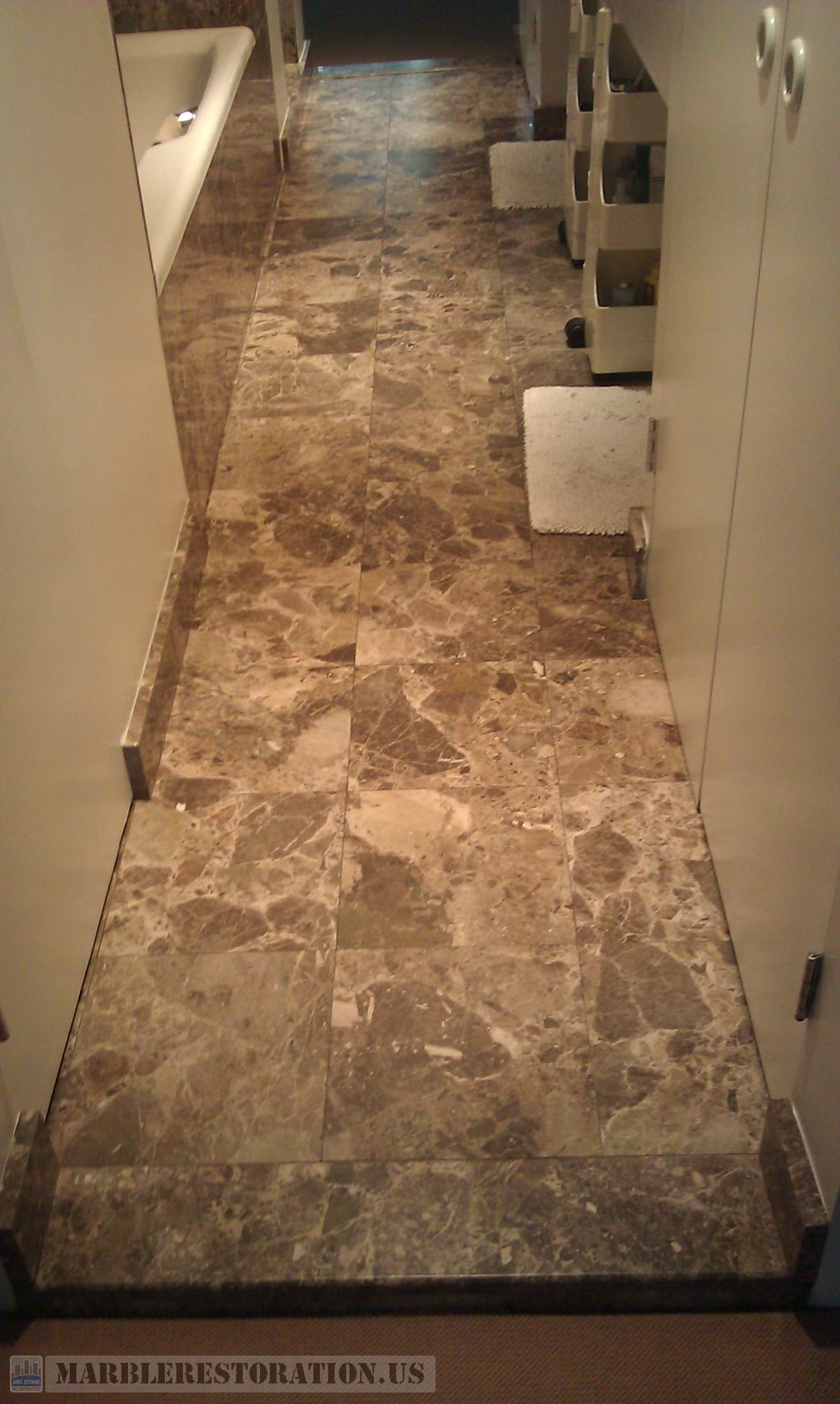 Shabby Dark Emperador Marble Worn Out and Dull Bathroom Tiles