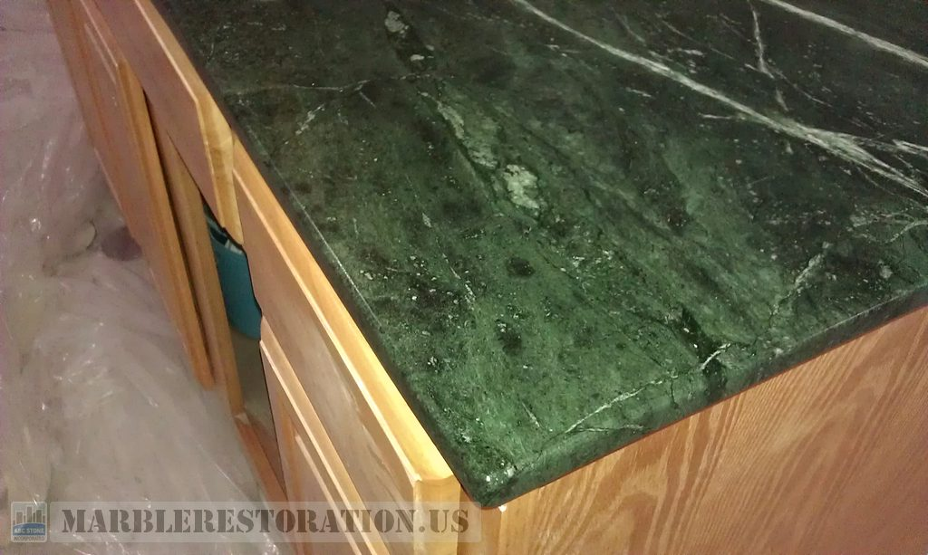Edging on Serpentine Green Marble Counter